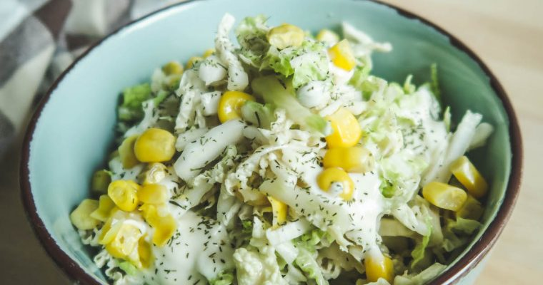 Napa cabbage salad with oil-free yogurt dressing [plant-based, no oil, gluten-free]
