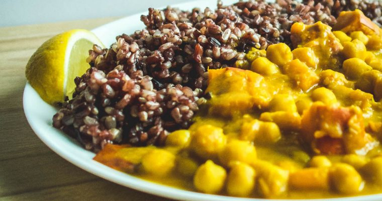 Plant-based Hokkaido pumpkin and chickpea curry with a wild rice mix.