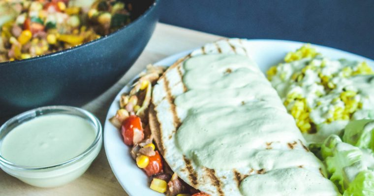 Enchiladas with peanut and pepita cream sauce [whole-food, plant-based, oil-free, gluten-free]
