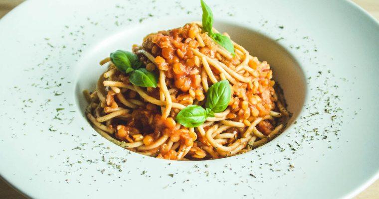 15-minute Spaghetti Lentilnese [whole-food, plant-based, oil-free, gluten-free, soy-free, nut-free]