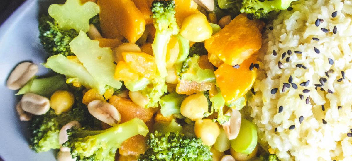 Low-fat Curry with sweet potato, broccoli, chickpeas, and homemade coconut milk [whole-food, plant-based, oil-free]